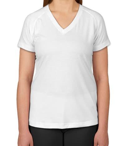 Sport-Tek Women's Ultimate V-Neck Performance Shirt - White