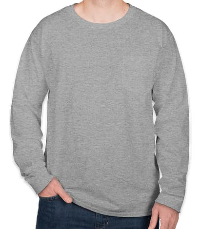 Hanes Workwear Long Sleeve Pocket T-shirt - Light Steel