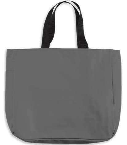Port Authority Durable Side Pocket Poly Canvas Tote - Charcoal