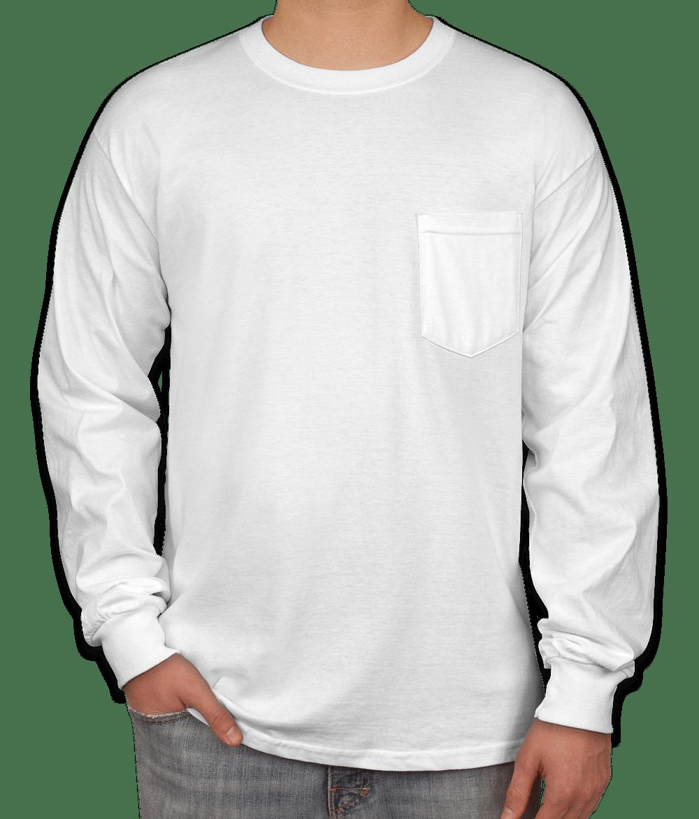 Custom Gildan Ultra Cotton Long Sleeve Pocket T Shirt Design Long