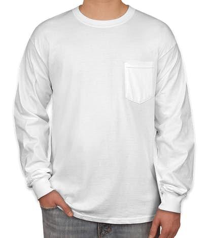 Gildan Ultra Cotton Long Sleeve Pocket T-shirt - White