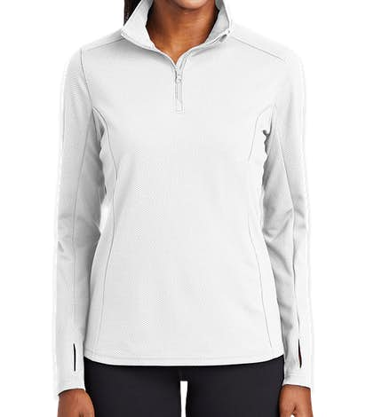 Sport-Tek Women's Sport-Wick Quarter Zip Performance Pullover - White