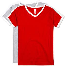LAT Women's Retro Ringer V-Neck T-shirt