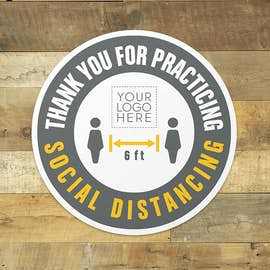 "Thank You For Social Distancing 12"" Circle Floor Decal"