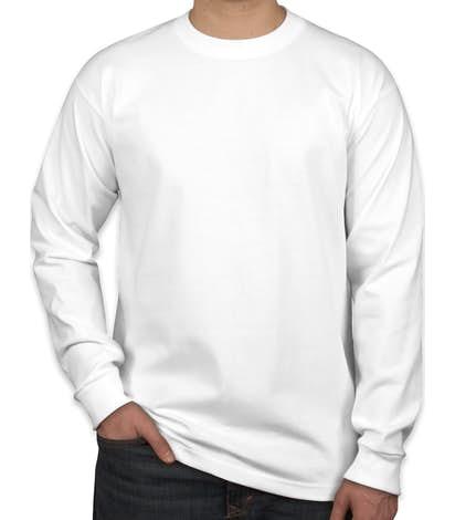 Bayside 100% Cotton USA Long Sleeve T-shirt - White