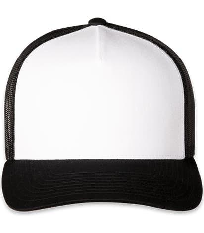 Pacific Headwear Five-Panel Snapback Trucker Hat - Black / White / Black