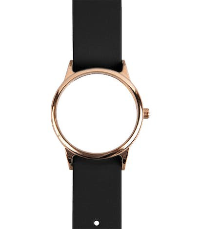 Rose Watch with Vegan Leather Band - White Face / Black Band