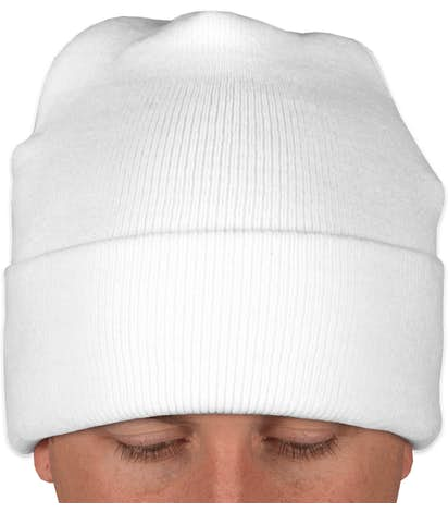 Yupoong Solid Knit Hat - White