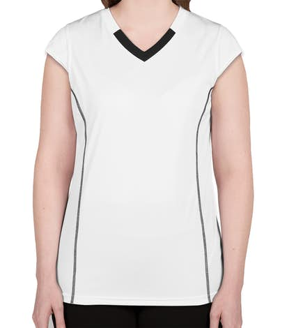 Augusta Women's Contrast V-Neck Volleyball Jersey - White / Black