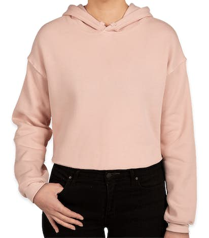 Bella + Canvas Women's Drop Shoulder Cropped Hoodie - Peach