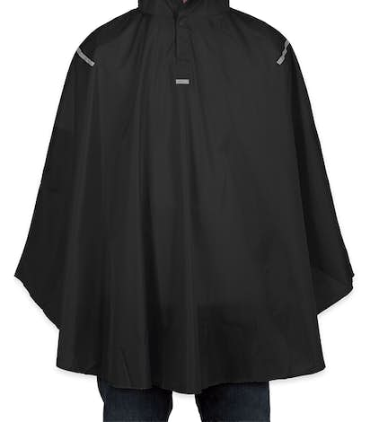Team 365 Packable Reflective Poncho - Black