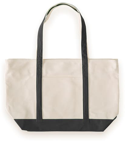 Large Heavyweight Cotton Zippered Boat Tote - Black