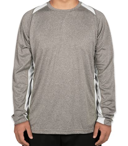 Sport-Tek Long Sleeve Heather Colorblock Performance Shirt - Vintage Heather / White