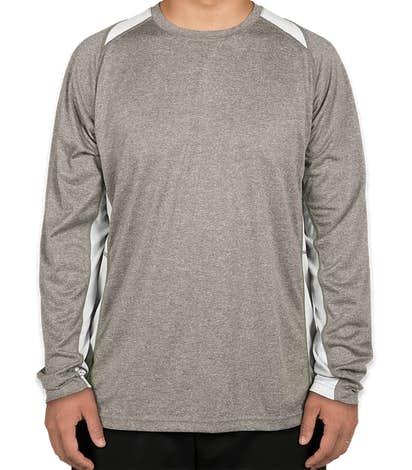 Sport-Tek Heather Contender Colorblock Long Sleeve Performance Shirt - Vintage Heather / White