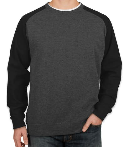 Independent Trading Heather Raglan Crewneck Sweatshirt - Charcoal Heather / Black