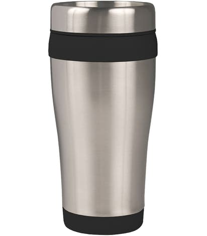 16 oz. Carmel Insulated Steel Travel Mug - Black