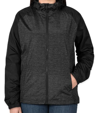 Sport-Tek Women's Heather Raglan Hooded Full Zip Jacket - Black Heather / Black