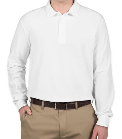 Gildan Dryblend Double Pique Long Sleeve Polo - White
