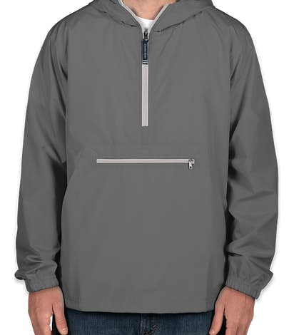 Charles River Pack-N-Go Hooded Packable Anorak - Embroidered - Grey