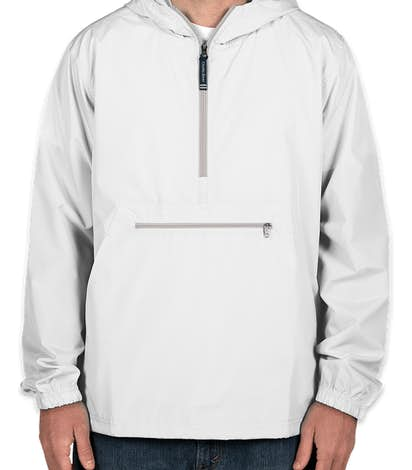 Charles River Pack-N-Go Hooded Packable Anorak - Screen Printed - White