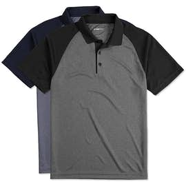 Sport-Tek Raglan Heather Color Block Performance Polo