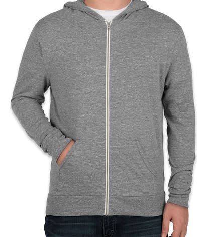 Threadfast Tri-Blend Full Zip T-shirt Hoodie - Grey Triblend