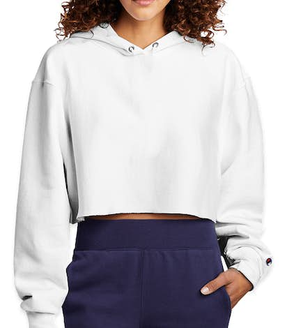 Champion Women's Reverse Weave Cropped Hoodie - White