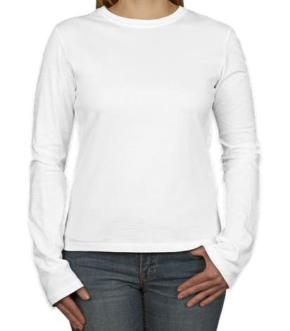 Bella + Canvas Women's Slim Fit Long Sleeve Jersey T-shirt - White