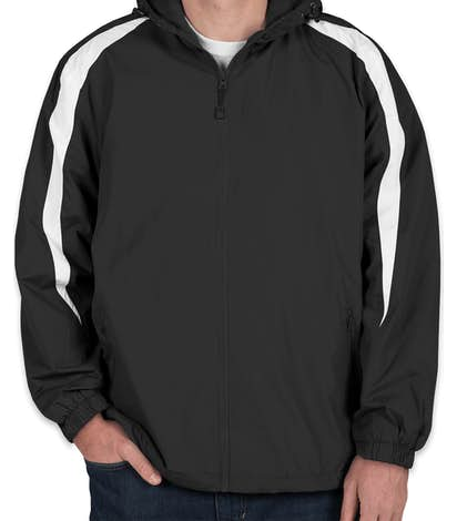 Sport-Tek Fleece Lined Colorblock Hooded Jacket - Black / White