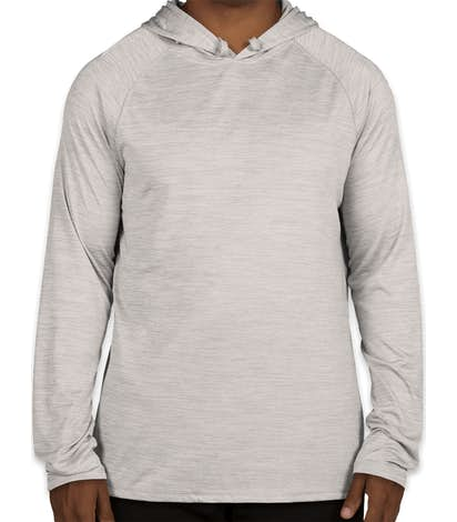 Augusta Tonal Heather Hooded Performance Shirt - Silver