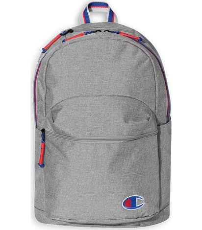 Champion Varsity Stripe Heathered Backpack - Heather Medium Grey Concrete