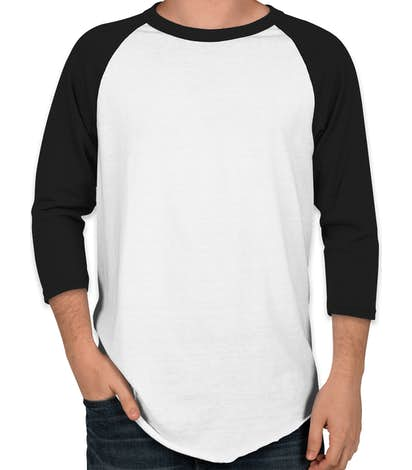 Augusta 50/50 Baseball Raglan - White / Black