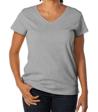 District Women's 100% Recycled V-Neck T-shirt - Light Heather Grey