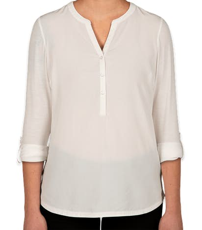 Port Authority Women's Henley Tunic Blouse - Ivory Chiffon