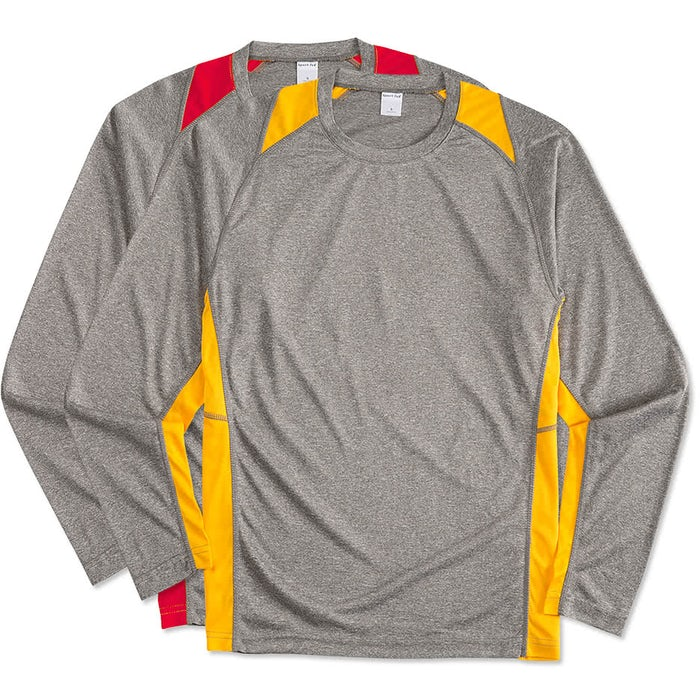 f684267a Custom Sport-Tek Long Sleeve Heather Colorblock Performance Shirt ...