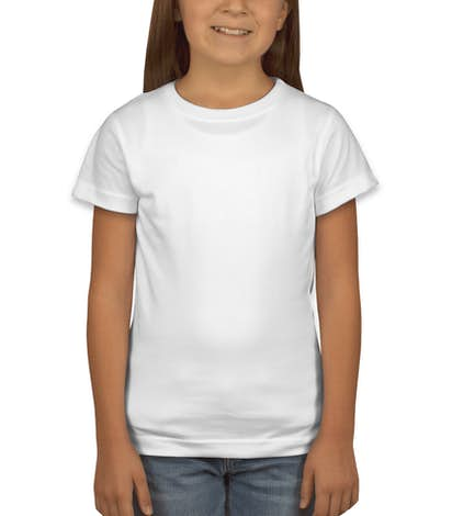 LAT Youth Girls Longer Length Jersey T-shirt - White