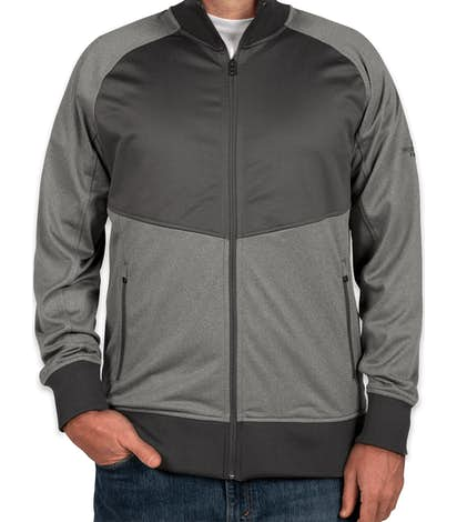 The North Face Color Blocked Tech Full-Zip Fleece Jacket - Medium Grey Heather / Asphalt