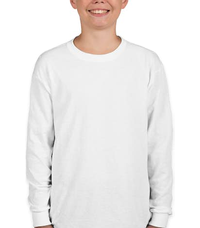 Gildan Youth 100% Cotton Long Sleeve T-shirt - White