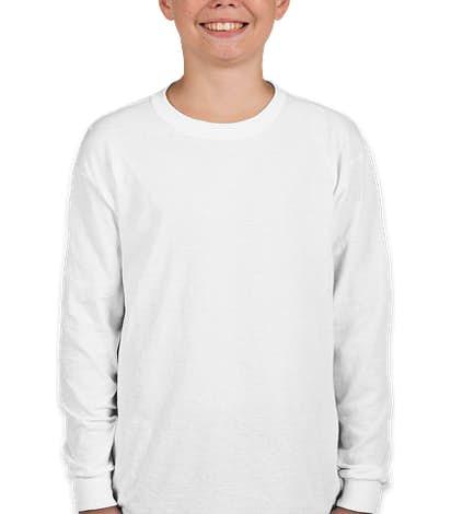 Gildan Youth 100% Cotton Long Sleeve T-shirt - White