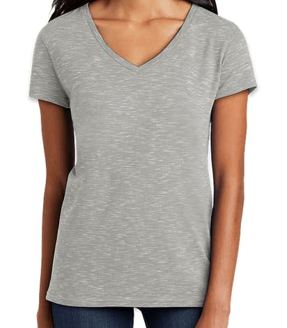 District Women's Melange V-Neck T-shirt - Light Grey