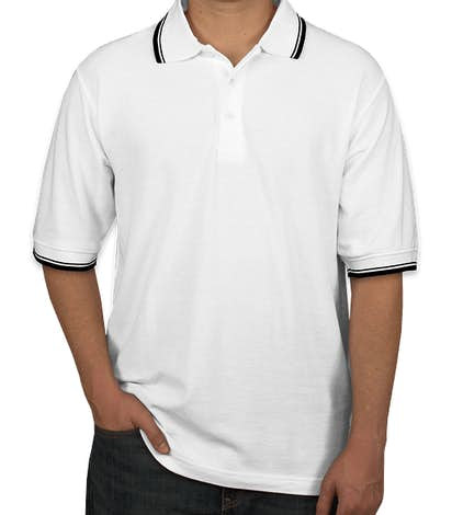 Ultra Club Lightweight Polo w/ Tipped Collar - White / Black
