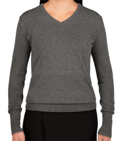 Port Authority Women's V-Neck Sweater - Charcoal Heather