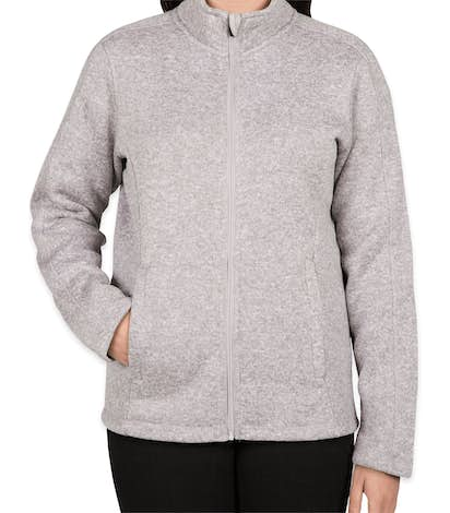 Devon & Jones Women's Full Zip Sweater Fleece Jacket - Grey Heather