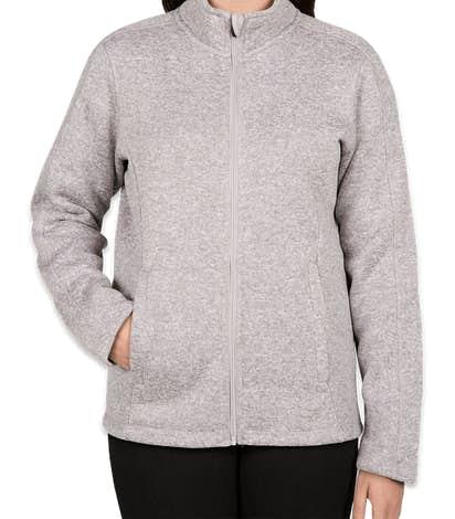 Devon & Jones Women's Full Zip Sweater Fleece Jacket - Grey Heather