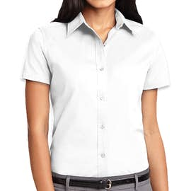 Port Authority Women's Short Sleeve Easy Care Shirt - Color: White/Light Stone