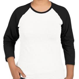 LAT Women's Baseball Raglan - Color: White / Black