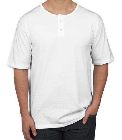Augusta 2-Button Baseball Henley - White
