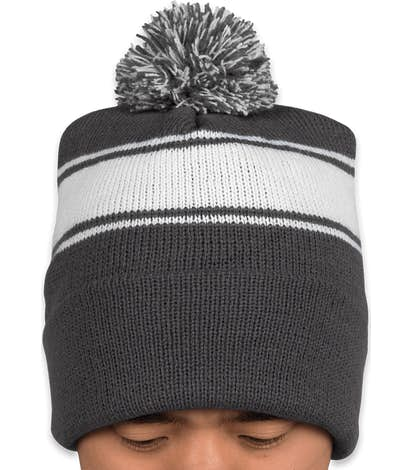 5e2916e84f5 Design Custom Embroidered Sport-Tek Stripe Pom Pom Beanie Online at ...