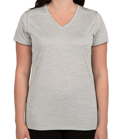 Augusta Women's Tonal Heather V-Neck Performance Shirt - Silver