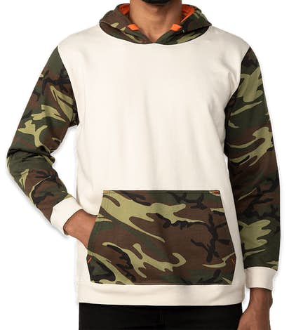 Code Five Camo Colorblock Pullover Hoodie - Natural / Green Woodland / Orange